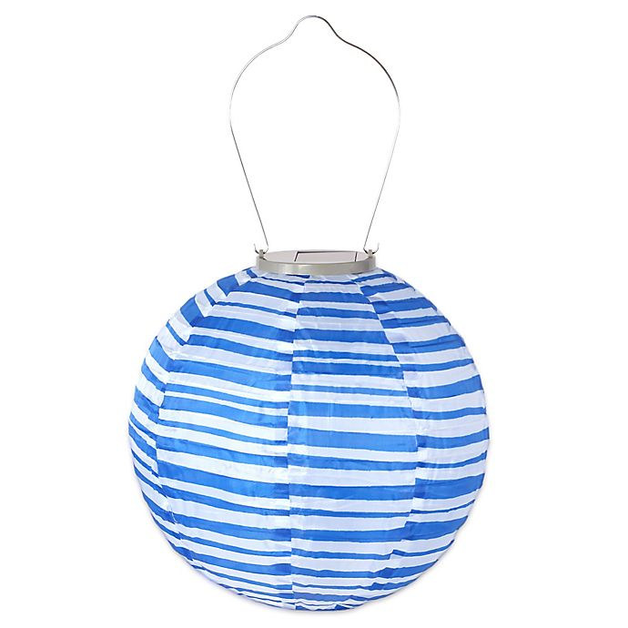 Alternate image 1 for Allsop® GLOW Solar Powered Nylon Lantern in Blue and White