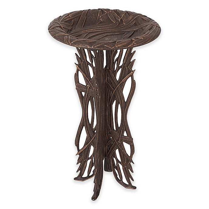 Alternate image 1 for Whitehall Products Dragonfly Pedestal Birdbath in Oil Rubbed Bronze