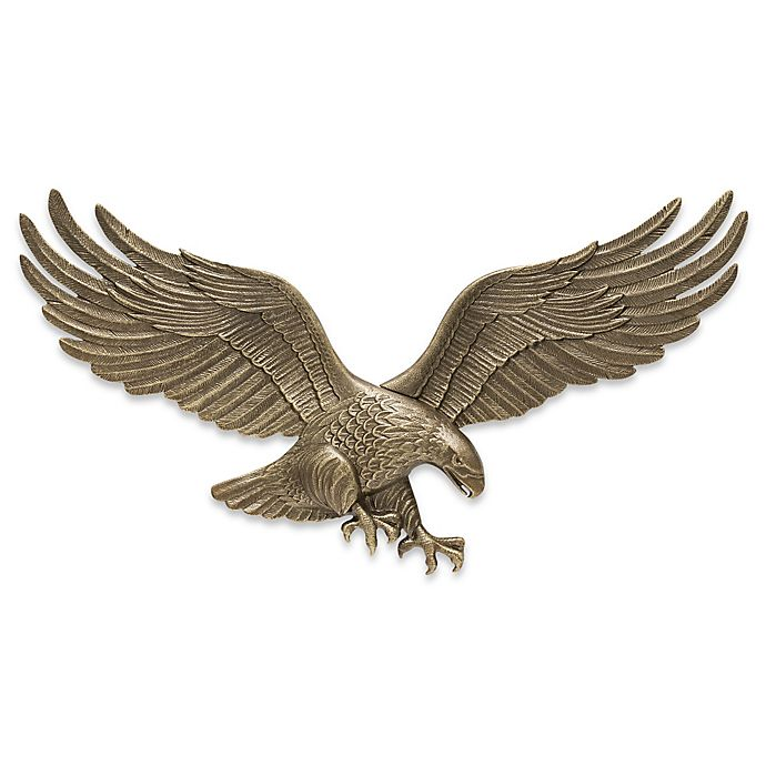 Alternate image 1 for Whitehall Products Eagle 29-Inch Patriotic Wall Plaque in Antique Brass