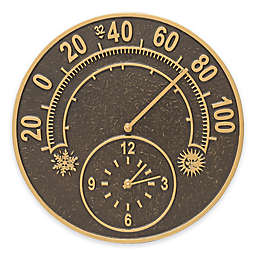 Whitehall Products Solstice Thermometer Clock in French Bronze