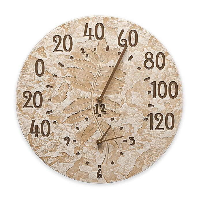 Alternate image 1 for Whitehall Products Fossil Sumac Thermometer Clock in Weathered Limestone