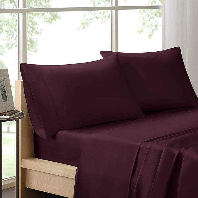 Alternate image 1 for Madison Park 600-Thread-Count Cotton Queen Sheet Set in Plum