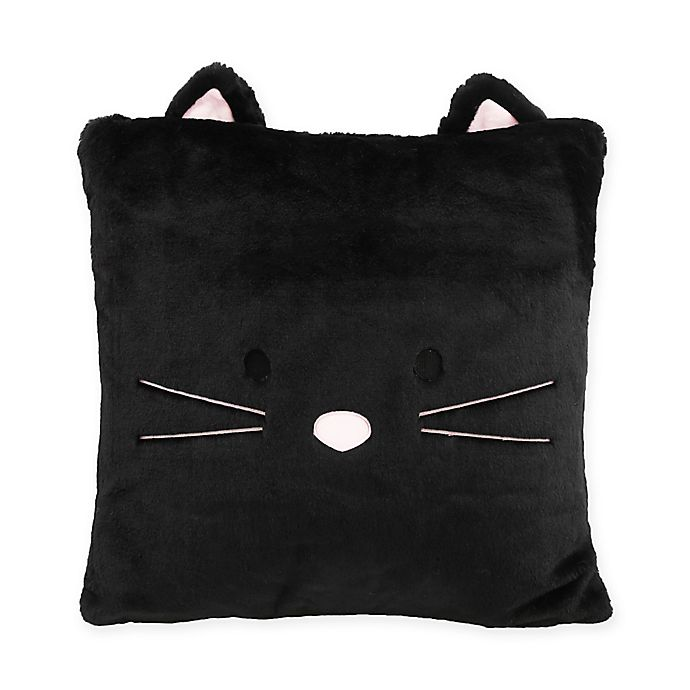 Alternate image 1 for Décor Innovation Faux Fur Cat Square Throw Pillow in Black