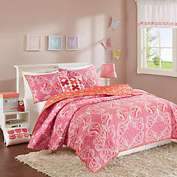 INK+IVY Kids Julia Reversible Coverlet Set in Pink