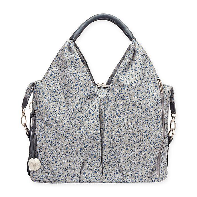 Alternate image 1 for Lassig® Green Label Allover Fleur Neckline Diaper Bag in Black Mélange