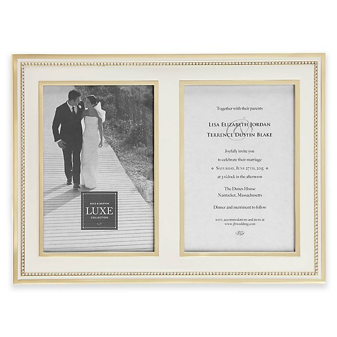 Alternate image 1 for Reed & Barton Luxe Collection 5-Inch x 7-Inch Facets Double Picture Frame in White/Gold