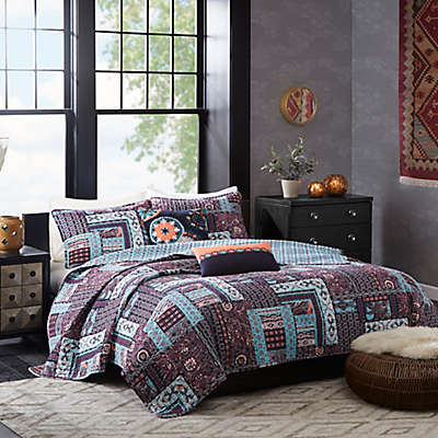 Josie by Natori Woodblock Patchwork Reversible Quilt Set in Purple