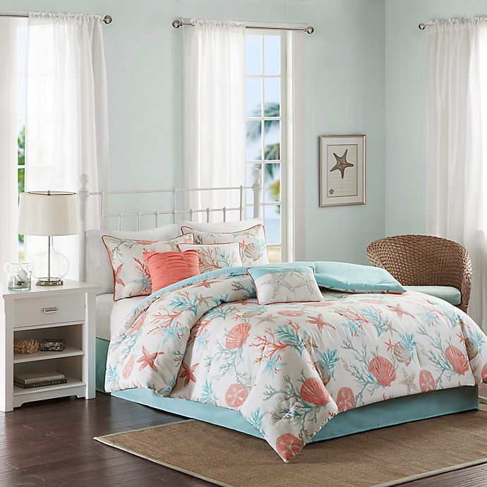 Alternate image 1 for Madison Park Pebble Beach 7-Piece King Cotton Sateen Printed Comforter Bedding Set in Coral