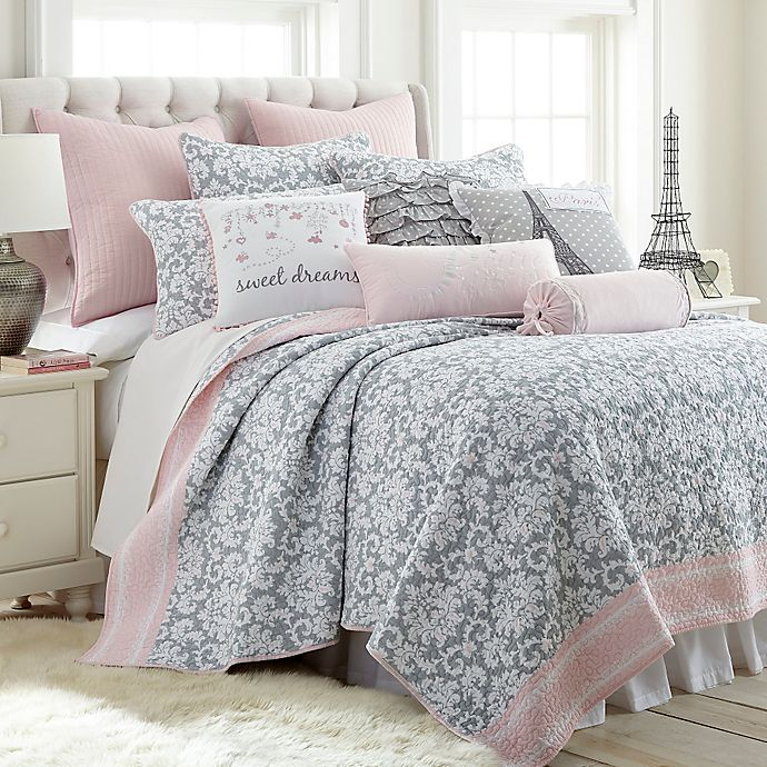 Alternate image 1 for Levtex Home Margaux Reversible Twin Quilt Set in Grey/Pink