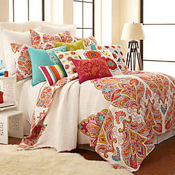 Levtex Home Tivoli Bone Reversible Quilt Set in Red