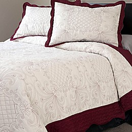 Nottingham Home Collection Juliette Embroidered Quilt Set in White/Red