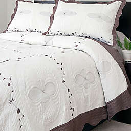 Nottingham Home Collection Athena Embroidered Quilt Set in White/Brown