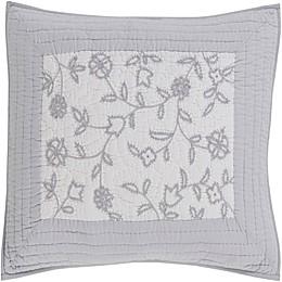 Surya Delaney Cotton/Linen European Pillow Sham in Light Grey