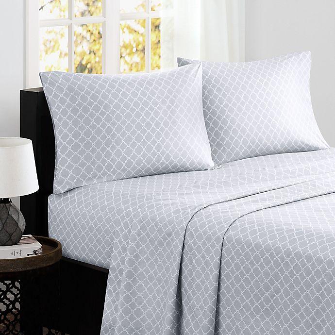 Alternate image 1 for Madison Park® Fretwork Cotton Printed Full Sheet Set in Grey