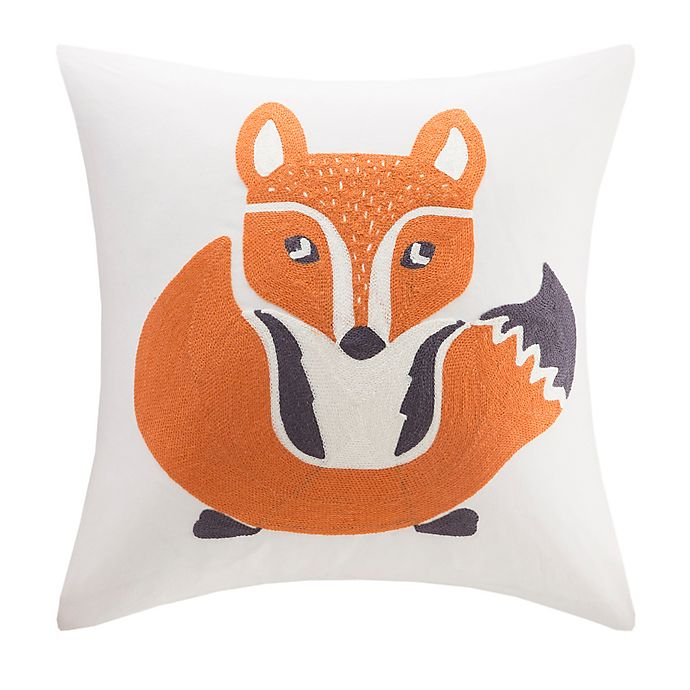 Alternate image 1 for INK+IVY Kids Foxy Square Throw Pillow in Ivory