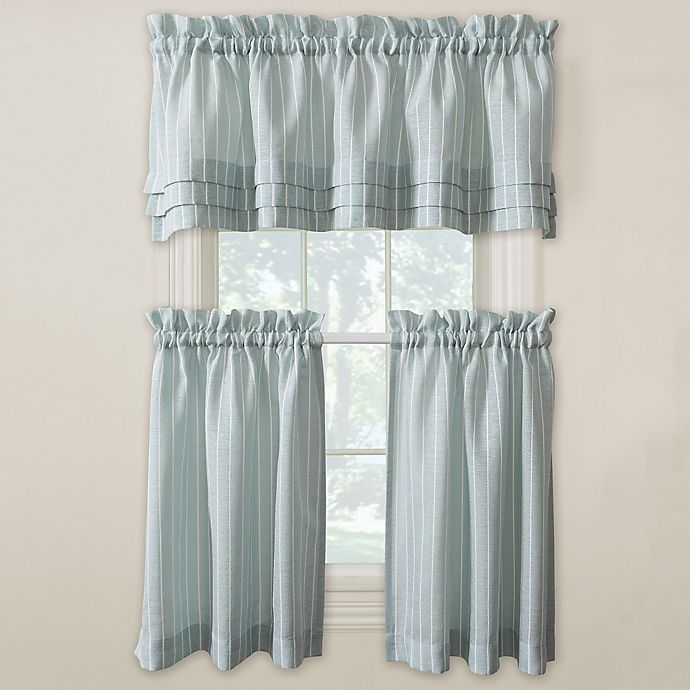 Buy Langley 24-Inch Kitchen Window Curtain Tier Pair In Aqua From Bed Bath & Beyond