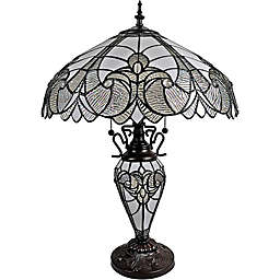 Tiffany Style 2-Light Jagged Edge Table Lamp in Mahogany with Stained Glass Shade