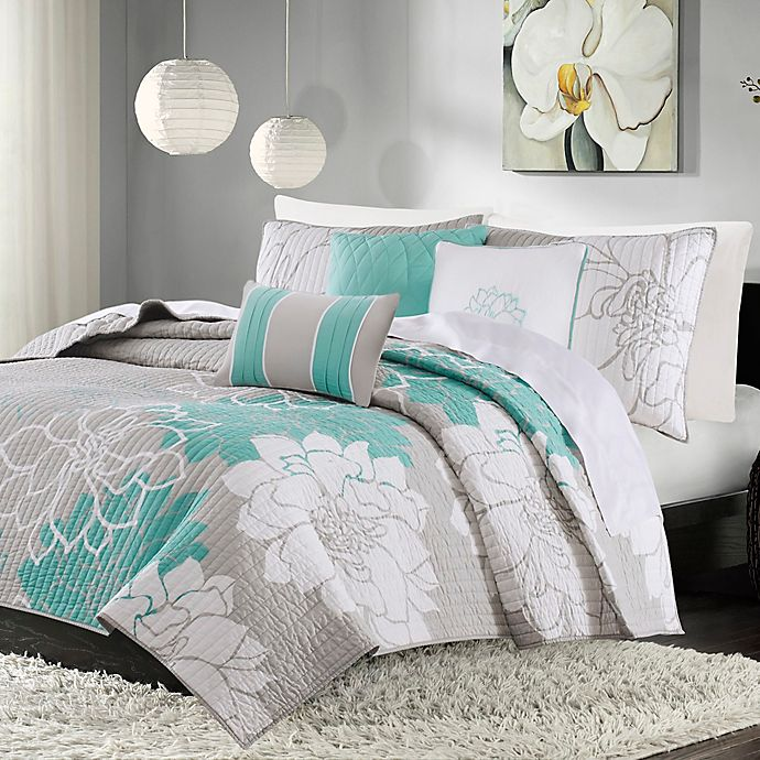 Alternate image 1 for Madison Park Lola King/California King Quilted Coverlet Set in Aqua