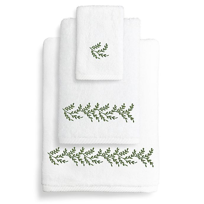 Buy Turkish Hand Towel: Buy Autumn Leaves Turkish Cotton Hand Towel In White/Green