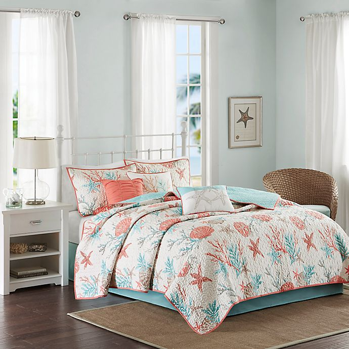 Alternate image 1 for Madison Park Pebble Beach 6-Piece Full/Queen Cotton Sateen Printed Coverler Set in Coral