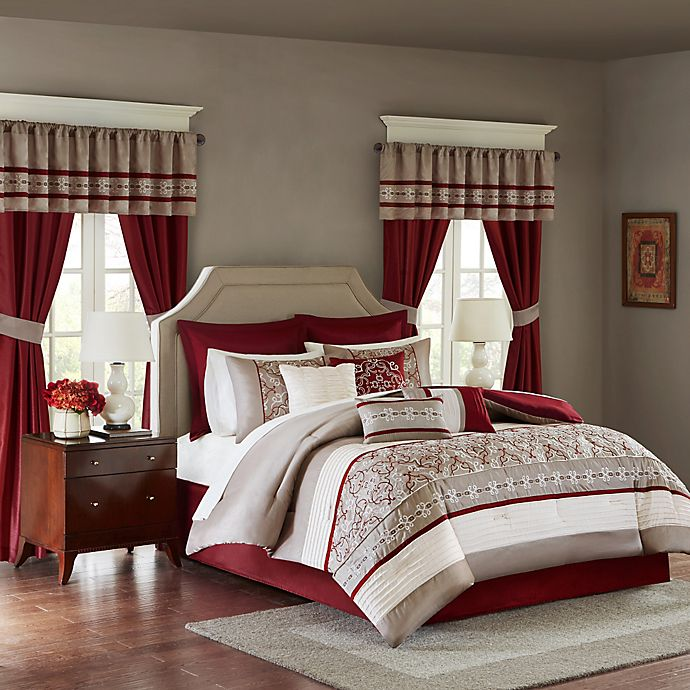 Alternate image 1 for Madison Park Essentials Jelena  24-Piece King Complete Comforter Set in Red