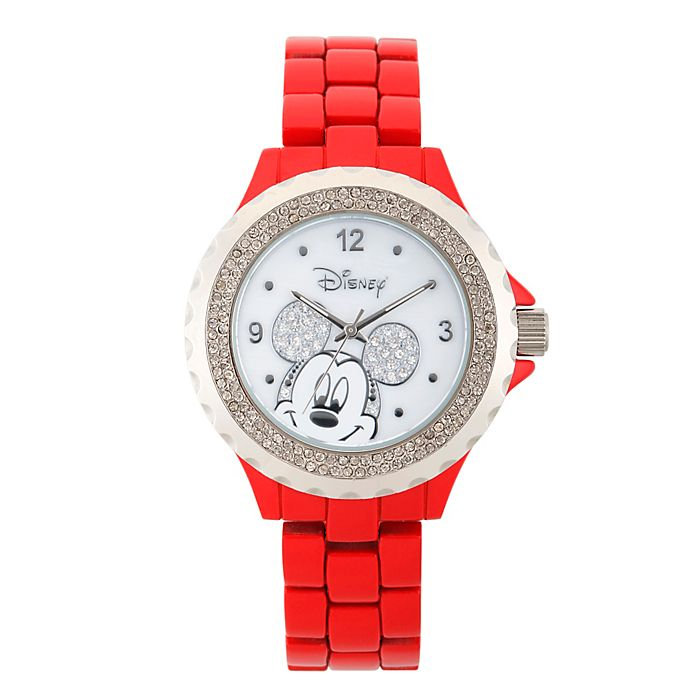 Alternate image 1 for Disney® Mickey Mouse Ladies' 41mm Crystal-Accented Watch in Red Alloy