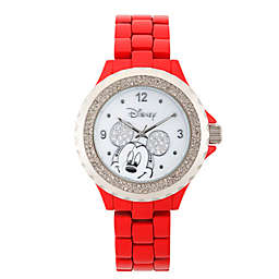 Disney® Mickey Mouse Ladies' 41mm Crystal-Accented Watch in Red Alloy