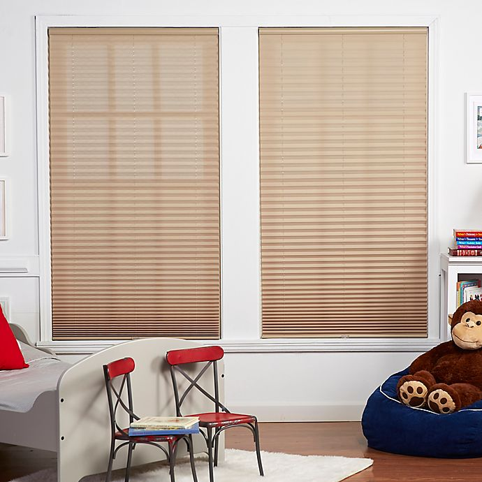 Alternate image 1 for Baby Blinds Cordless Pleat 58-Inch x 64-Inch Shade in Macadamia