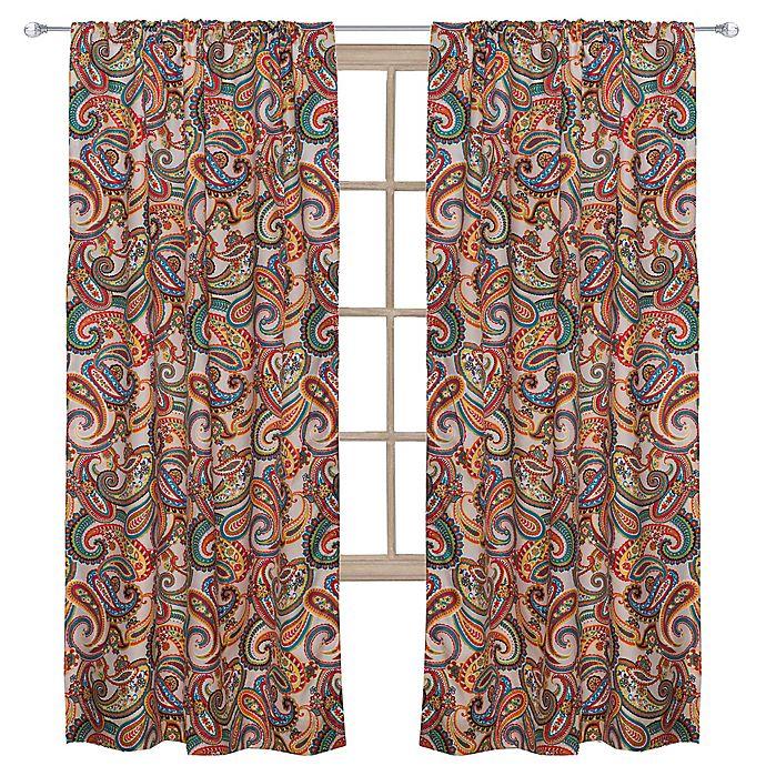 Levtex Home Alyssa 55 Inch Rod Pocket Paisley Window Curtain Panel In Beige Bed Bath Beyond
