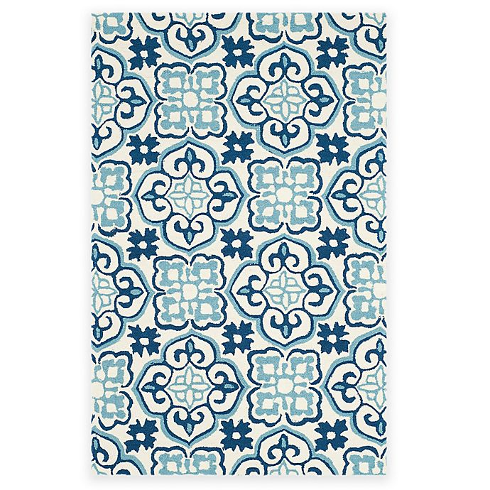 Alternate image 1 for Safavieh Four Seasons Tile 3-Foot 6-Inch x 5-Foot 6-Inch Area Rug in Blue/Ivory