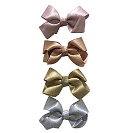 Curls & Pearls 4-Pack Shimmer Metallic Bow Clips