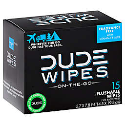 DUDE Wipes 15-Count Unscented Flushable Wipes
