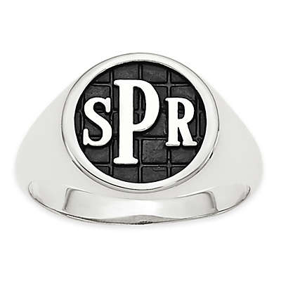 10K White Gold Mens' Block Initial Tile Signet Ring