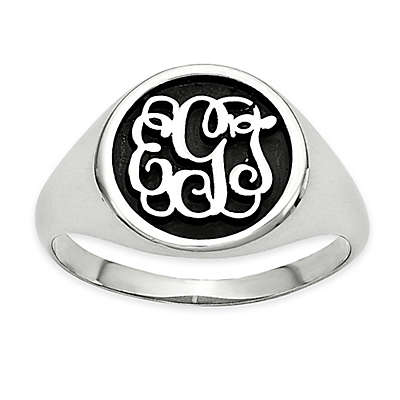 10K White Gold Mens' Script Letters Ring