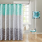 Intelligent Design Adel Printed Shower Curtain in Aqua