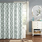 Madison Park Essentials Merritt Printed Fretwork Shower Curtain in Grey