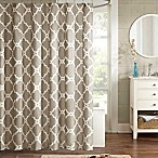 Madison Park Essentials Merritt Printed Fretwork Shower Curtain in Taupe