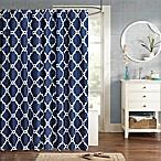 Madison Park Essentials Merritt Printed Fretwork Shower Curtain in Navy