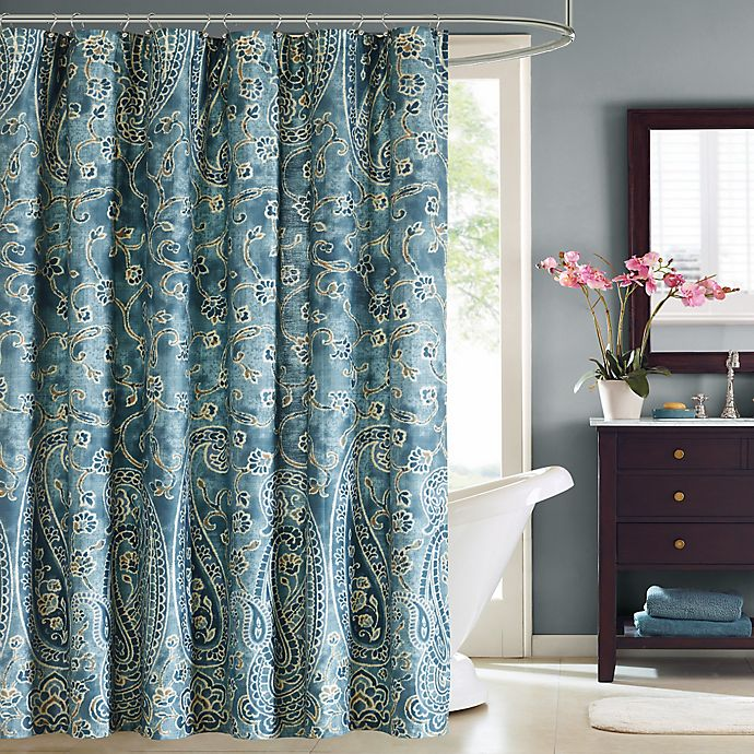 Alternate image 1 for Harbor House™ Belcourt Printed Shower Curtain in Blue