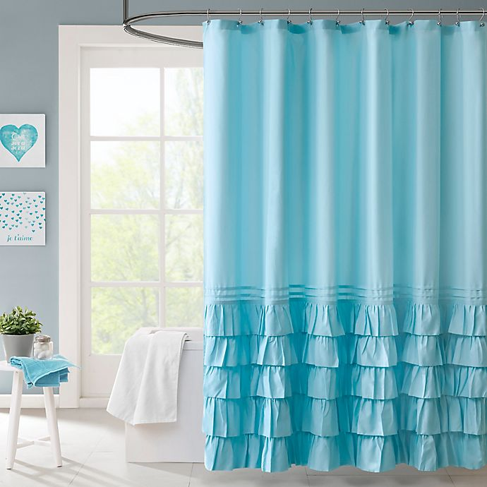 Intelligent design waterfall shower curtain in blue bed - Intelligent shower ...