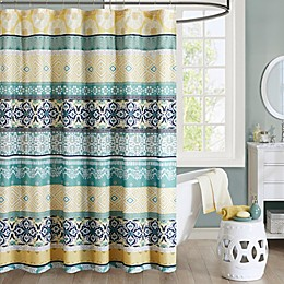 Intelligent Design Arissa Printed Shower Curtain in Green/Yellow