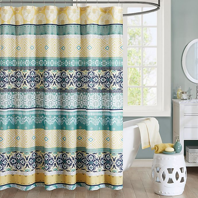 Alternate image 1 for Intelligent Design Arissa Printed Shower Curtain in Green/Yellow