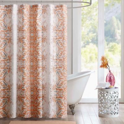 Intelligent Design Minet Printed Shower Curtain In Orange