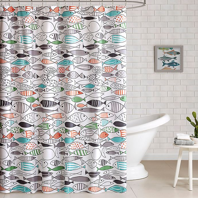 Alternate image 1 for HipStyle Sardina Printed Shower Curtain