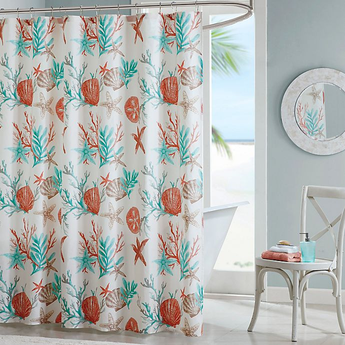 Alternate image 1 for Madison Park Pebble Beach Printed Shower Curtain in Coral