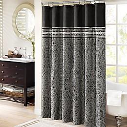 Madison Park Barton 72-Inch x 72-Inch Jacquard Shower Curtain in Black