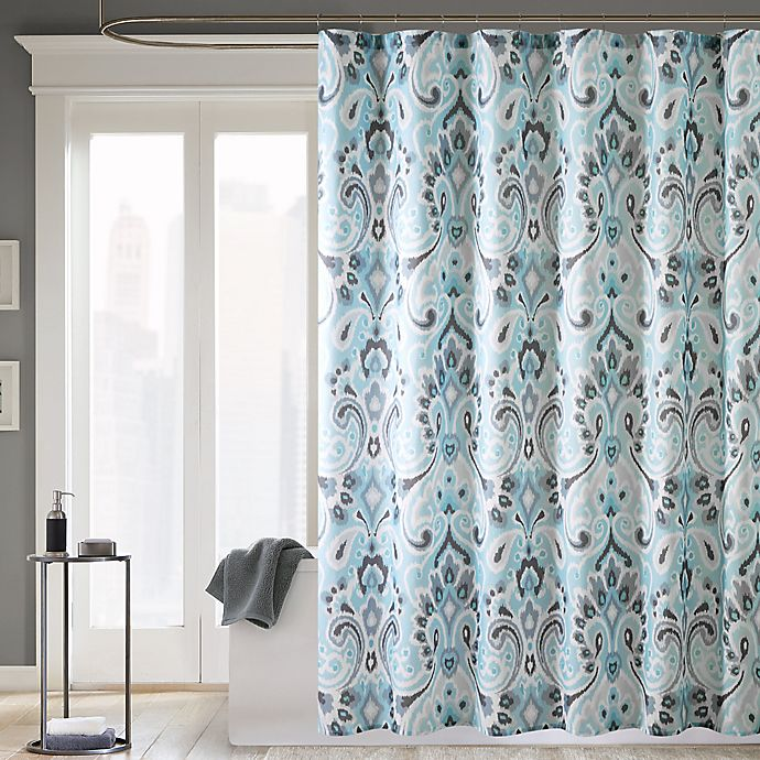 Alternate image 1 for Madison Park Capris 72-Inch x 72-Inch Microfiber Shower Curtain in Blue
