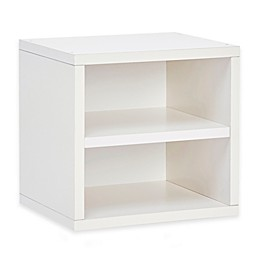 Way Basics Tool-Free Assembly zBoard paperboard Connect Storage Cube with Shelf in White