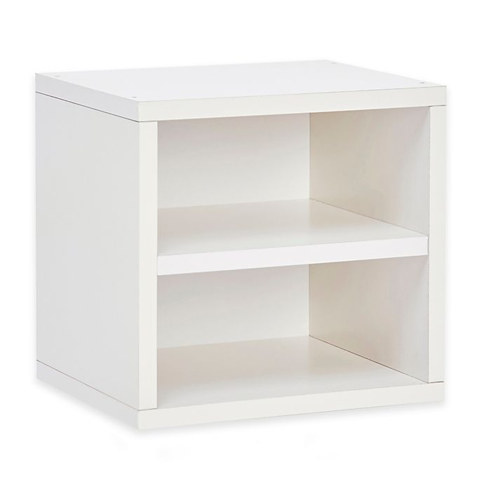 Alternate image 1 for Way Basics Tool-Free Assembly zBoard paperboard Connect Storage Cube with Shelf in White