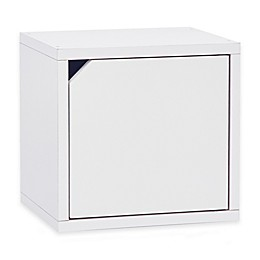 Way Basics Tool-Free Assembly zBoard paperboard Connect Storage Cube with Door in White